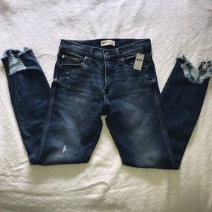 High Rise Slim Straight Jeans Distressed Detail